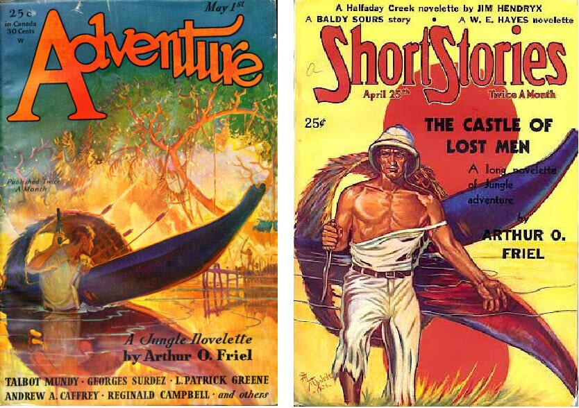 Adventure May 1931 cover by Remington Schuyler vs Short Stories April 25 1937 cover by A. R. Tilburne